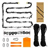Upgrade 48 Inch High Limb Hand Rope Saw Chain Saw with 44 Feet Rope 62 Bidirectional Sharp Teeth Blades on Both Sides, Folding Pocket Chainsaw for Wood-Cutting, Camping and Field Survival Gear