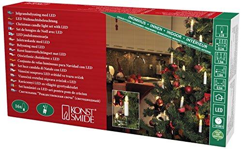 Konstsmide 2010–020–Guirnalda LED con luces para árbol/para interior (IP20)/VDE/Interior De 230V/conector separable, 16diodos de blanco cálido, cable verde