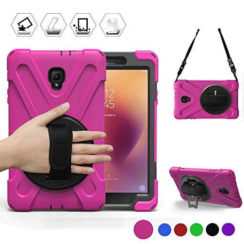 BRAECN Samsung Galaxy Tab A 8.0 2017 Case Three Layer Heavy Duty Soft Silicone Hard Bumper Case with Stand+Hand Strap+Shoulder Strap Case for Galaxy Tab A 8'' SM-T380/T385 2017 Release (Rose Red)