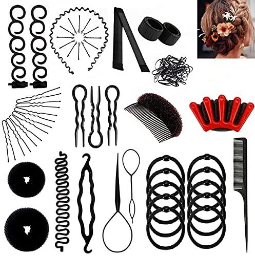 Haare Frisuren Hilfe Set 15 Stile,DIY Flechthilfe Haarschmuck Zopf, Dutt Bun Mädchen Frisur Maker Werkzeug, Haar Styling Accessoires für Damen Mädchen