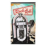 Boland 44851 - Dekorationsfahne Rock 'n Roll, 1 Stück, Größe 90 x 150 cm, Musikbox, Mikrofon, 50er Jahre, 60er Jahre, Dekorationsbanner, Wanddekoration, Mottoparty, Karneval, Geburtstag,...