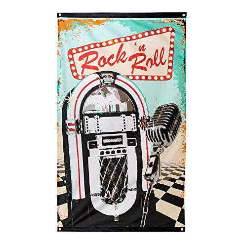 Boland 44851 - Dekorationsfahne Rock 'n Roll, 1 Stück, Größe 90 x 150 cm, Musikbox, Mikrofon, 50er Jahre, 60er Jahre, Dekorationsbanner, Wanddekoration, Mottoparty, Karneval, Geburtstag, Disco