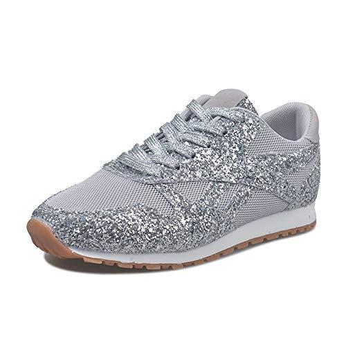 Tasty Life Frauen Arbeitsschuhe Bequeme Atmungsaktive Freizeitschuhe Mit Pailletten Walking Jogging Athletic Fitness Outdoor Sneakers(36,Silver)