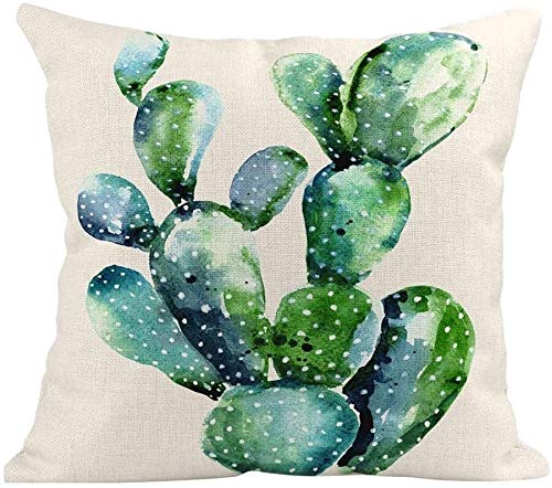 Nyfcc Pillowcase, Cactus Succulent Plants Pillow Covers Watercolor Flower Cushion Cover, Home & Garden (Color : C, Size : -)