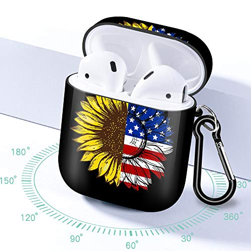 LINPO Airpods Case Cover for 1st/2nd Silicone Designer Airpod Cases Cute Shockproof Protective with Keychain Compatible and Wireless Charging for Women Girls Boys(Black Sunflower Flag)