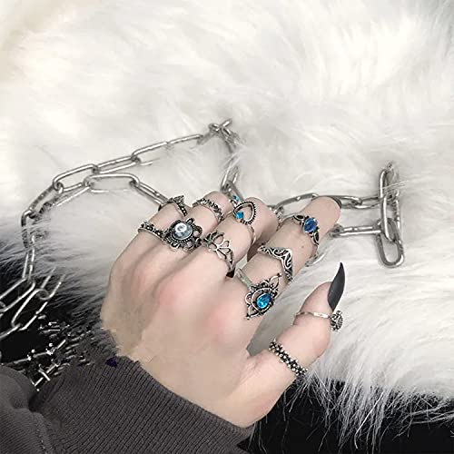 TaiWang Anillos de Serpientes, 4 Anillos Suelo Femenino Fresco Metal Pesado Dark Gothic Street Hip-Hop Python Punk Ring múltiple,Punk