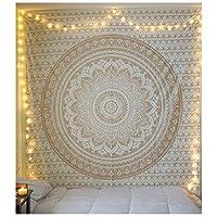 TYOP タペストリー、マンダラの花の壁掛けカーテンタペストリー、ゴールデンベッドスプレッドヨガのマット、寮の壁の装飾ぶら下がっている布 (Size : 59*59 inches)