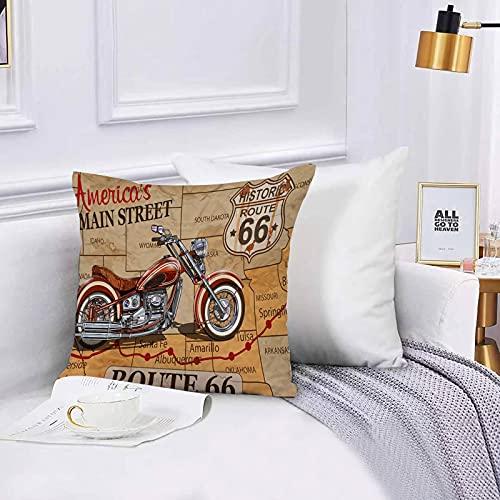 Lilatomer Funda de algodón 45 x 45 cm Cartel Vintage de la Ruta 66 de la Motocicleta Sofá Throw Cojín Almohada Caso de la Cubierta para Sala de Estar 45x45cm