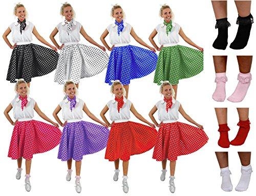 Falda de lunares rojos y blancos, bufanda y calcetines blancos con volantes – Falda larga roja con lunares blancos, bufanda y calcetines blancos – perfecto para disfraces de los años 50