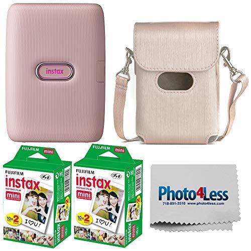 Fujifilm Instax Mini Link Smartphone Printer - (Dusty Pink) + 2X Fujifilm Instax Mini Twin Pack Instant Film (40 Sheets) + Protective Case for Fuji Link Printer