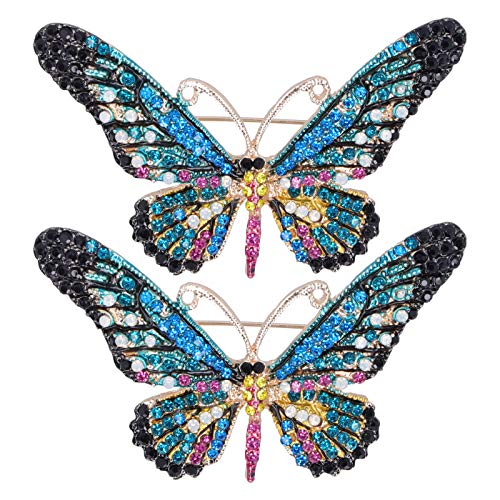 Brooch Pin, 2pcs Butterfly Women Brooch Clothing Accessory, Trade Fair Clothing Accessory for Trade Fair Women(Blue)