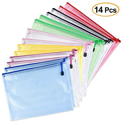 TUPARKA A5 Carteras de plástico con cremallera Bolsa de plástico con cierre de PVC Bolsas de documentos de malla para la oficina de recibos, 14 piezas