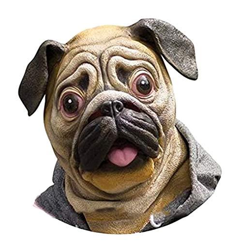 STOBOK Hunde Maske Bulldog Kopfmaske Latex Kostüm Zubehör Erwachsene Foto Requisiten