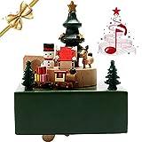 LONEEDY, Carillon in legno con pupazzo di neve e mini treno che gira con la musica, regalo esclusivo per Natale e compleanno
