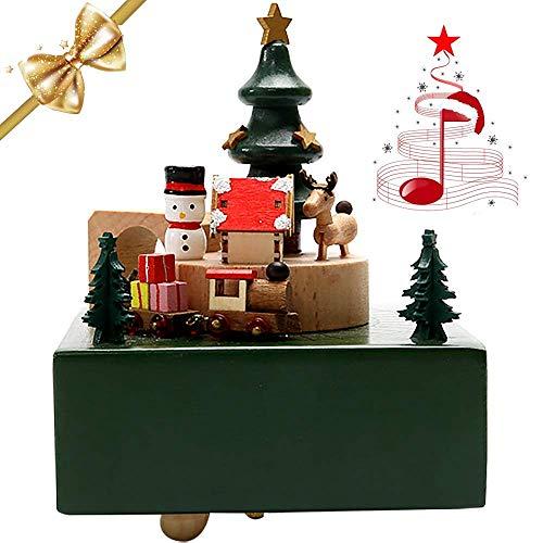 LONEEDY Spieluhr Schneemann Elch Holz Spieluhr Mini Zug drehbar mit Musik Exklusive Spielzeug Geschenke für Weihnachten und Geburtstag
