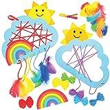 Baker Ross AT774 Regenbogen Traumfänger Bastelset für Kinder - 4er Pack, Bastelsets für Kinder zum Basteln und Bemalen