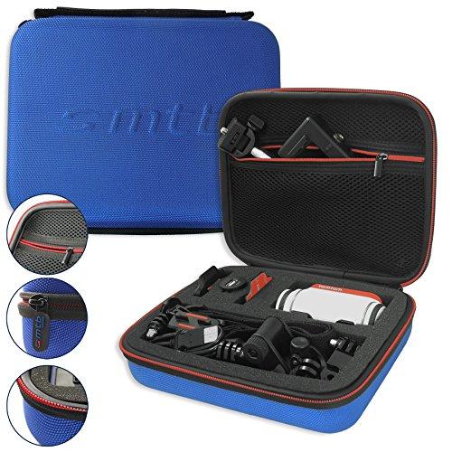 mtb more energy® Schutztasche XL für Garmin Virb Elite, X, XE/Contour Roam 3 / Ghost-S/Tomtom Bandit UVM. - Blau - Koffer Case Stecksystem Modular