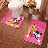 Mi-ck-ey Mo-use - Alfombrilla antideslizante para el baño, alfombrilla para el suelo, 2 juegos de alfombrillas + alfombrilla en forma de U, lavables, para el baño, el hogar, la ducha