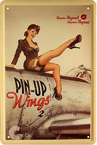Nice Nostalgie Strapsmaus Army Pin Up Girl auf Flugzeug 20x30 cm Blechschild 22