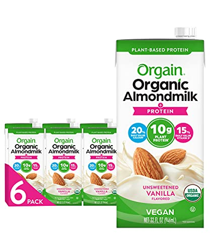 Orgain Organic Plant Based Protein Almond Milk, Unsweetened Vanilla - Non Dairy, Lactose Free, Vegan, Gluten Free, Soy Free, No Sugar Added, Kosher, Non-GMO, 32 Ounce (Pack of 6) (Packaging May Vary)
