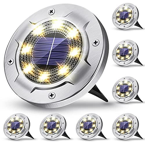 Claoner Solar Bodenleuchten, Solarleuchten für Außen, 8 LEDs Solarleuchten Garten Solarlampen für Außen IP65 Wasserdicht, Solar Wegeleuchten LED Solarlicht Gartenleuchten Warmweiß 8 Stück