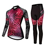 Womens Cycling Jersey Long Sleeve Suits Thermal Fleece Biking Sets Autumn and Winter