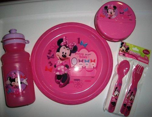Minnie 8,5'placa,–Recipiente para alimentos con tapa, 17oz tapón para botella y 4piezas Juego de cubiertos