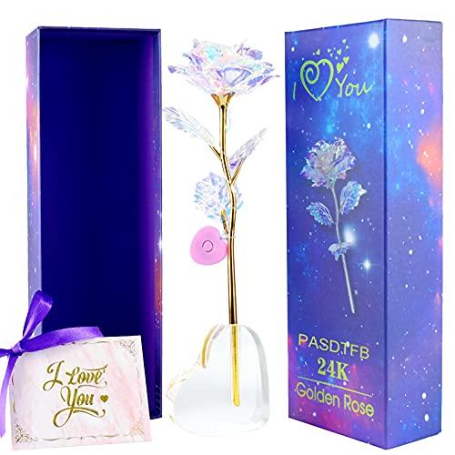 24k Rosa Placcato Oro Fiore Artificiale Rosa Placcata Oro con Scatola Regalo e Supporto Rosa Eterna Stabilizzata Regalo per Lei di San Valentino Compleanno Festa della Mamma Anniversario Matrimonio
