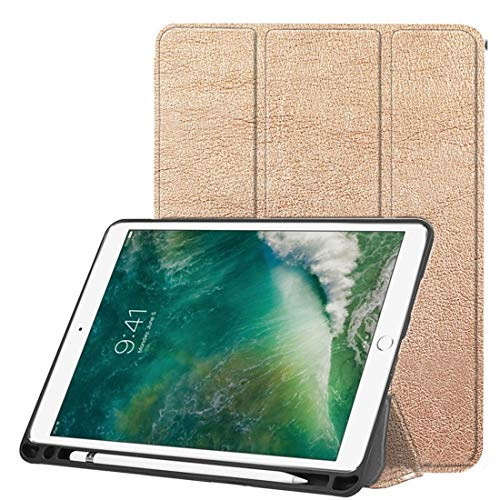 Banaz Leather Case Custer Texture Horizontal Flip Leather Case For IPad Pro 10.5 Inch/IPad Air (2019), With Three-folding Holder & Pen Slot (Color : Gold)