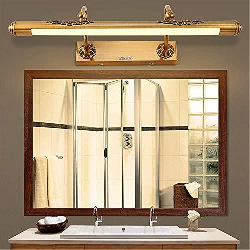 ÑIQUIÑA Luz de baño de baño americano luz retro espejo luz, IP44 Espejo impermeable Scarp, Bronce 3000k blanco cálido, antiálogo impermeable Declarado luz, 60cm11w (Color : 50cm9w)