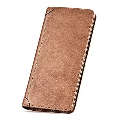 Kattee Retro Crazy Horse Genuine Leather Long Bifold Wallet (Brown)