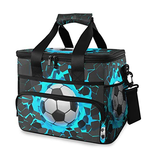 Rulyy Cooler Bag 3D Geometry Football Lunch Bag Collapsable Cooling Bag Waterproof Leakproof Lunch Box 15 Litre Tote Bag for Outdoor Picnic Travel Camping Work