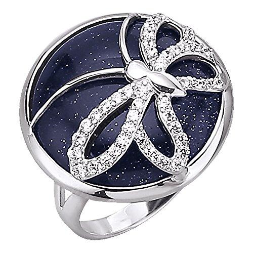 Jacques Lemans Damen Ring 925/- Sterling Silber Glänzend Blaufluß weiß 490270006