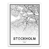 JYWDZSH Impresión De La Lona Negro Blanco Mundo Mapas De La Ciudad Estocolmo Carteles Impresiones Escandinava Sala De Estar Arte De La Pared Imágenes Decoración Lienzo Pintu