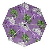 Paraguas de Viaje de Color Morado con diseño de volutas y Verduras, Plegable, Reversible, Resistente al Viento, protección UV, Mango ergonómico, Apertura y Cierre automático, Color Morado