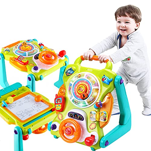iPlay, iLearn 3 in 1 Baby Walker Sit to Stand Toys, Kids Activity Center, Toddlers Musical Fun Table, Lights and Sounds, Learning, Birthday Gift for 9, 12, 18 Months, 1, 2 Year Old, Infant, Boy, Girl