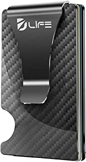 Dlife Carbon Fiber Men Mini Wallet Money Clip Fixation Elastic Band - Credit Card Holder RFID Blocking Wallet Without Screws