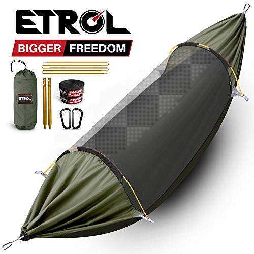 ETROL Hammock, Upgrade Double & Single Camping Hammock with Mosquito Net, Tree Straps, Carabiner, 3...