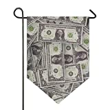 FAJRO Doppelseitige Gartenflagge Banknoten American Dollars Muster Premium Material, saisonale Outdoor Deko Flaggen für Garten Hof Rasen, Polyester, 1, 12x18.5in