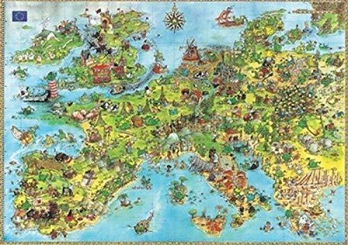 Puzzels 1000 stukjes, Educatief Game Tre Reliever Moeilijke uitdaging voor kinderen - Europa Kaart Decompressie Games Landschap Jigsaws
