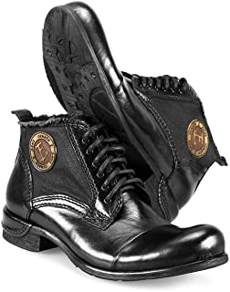 PeppeShoes Modello Vieste - Handmade Italian Mens Color Black Ankle Boots - Cowhide Hand Painted Leather - Lace-Up