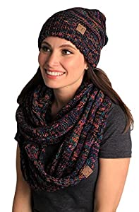 Funky Junque Oversized Slouchy Beanie Bundled with Matching Infinity Scarf