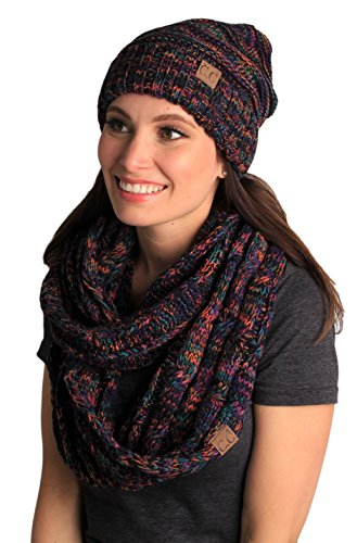 bHS-6100-0641 Oversized Beanie Matching Scarf Set Bundle - Kaleidoscope 4#32