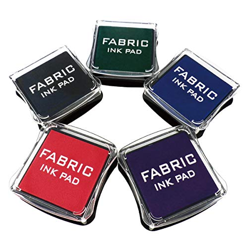 Best Stamp Fabric Ink Pad Stamps Set, 5 Colors Non-Toxic Pigment Ink Pad for Stamps, Wood, Fabric and Paper Surface. Ideal Gift for Crafts (5 Pack)