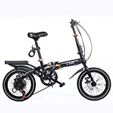N/G Vélo Adulte Pliant Noir 16 Pouces à Vitesse Variable Double Frein à Disque étudiant vélo Portable Installation Simple