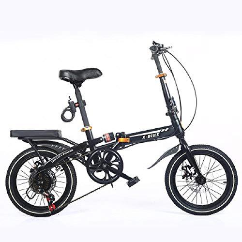 N/G Vélo Adulte Pliant Noir 16 Pouces à Vitesse Variable Double Frein à Disque étudiant vélo...