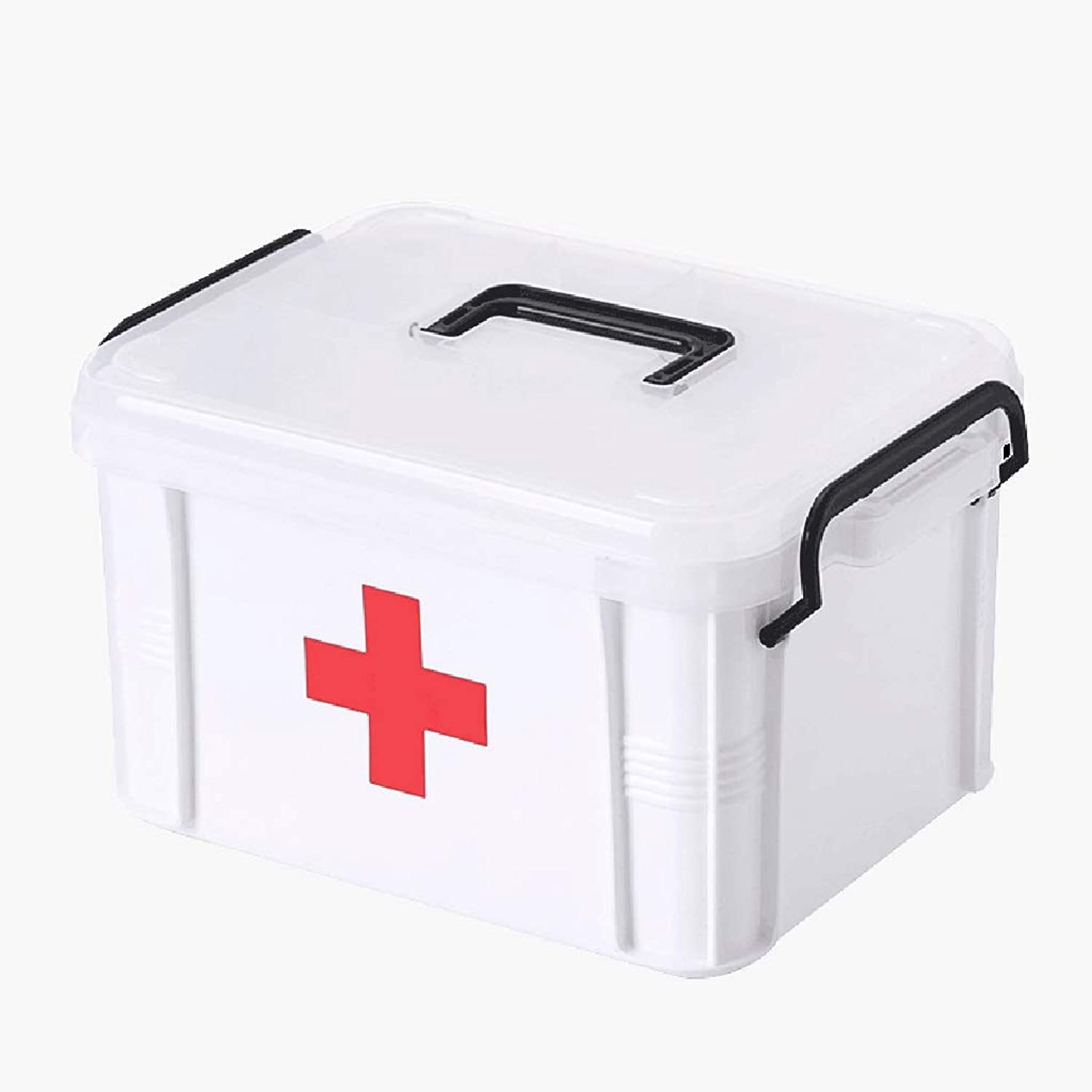 Djyyh First Aid Box Medicine Chest, Double Layer Medical Storage Box, Plastic Medicine Container Box Pill Box (Size   L)