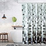 Trounistro Duschvorhäng, Duschvorhang Anti-Schimmel Duschvorhang aus Polyester Wasserabweisend Shower Curtain Anti-Bakteriell mit 12 Duschvorhangringen (Hellgrau, 180*180)