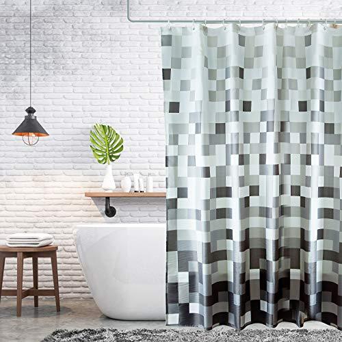 Trounistro Duschvorhäng, Duschvorhang Anti-Schimmel Duschvorhang aus Polyester Wasserabweisend Shower Curtain Anti-Bakteriell mit 12 Duschvorhangringen (Hellgrau, 180*200)
