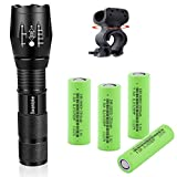 18650 Flashlight with 4PCS Flat Top 3.7v 18650 2500mAh Rechargeable Battery and Bicycle Clip, 5 Mode Zoomable Waterproof Mini Flashlights 2000 Lumens for Camping Emergency Everyday Portable Flashlight
